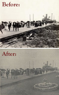 Before and after photos of Cedar Point dock, circa 1900