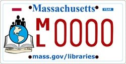 MA Libraries license plate