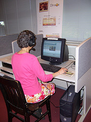 Working at a public library computer