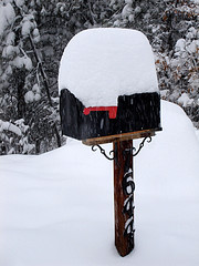 Snow-covered mailbox
