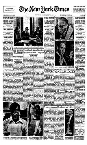 New York Times front page from July 29th, 1974