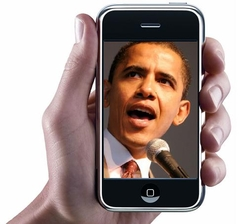 obama on iphone