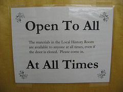 Open To All ~ At All Times sign