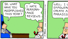 Dilbert comic about annual reviews