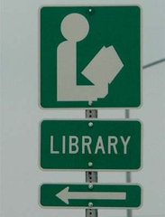 Library arrow sign