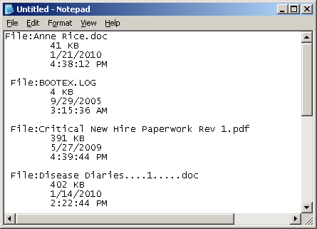 Files pasted into Notepad