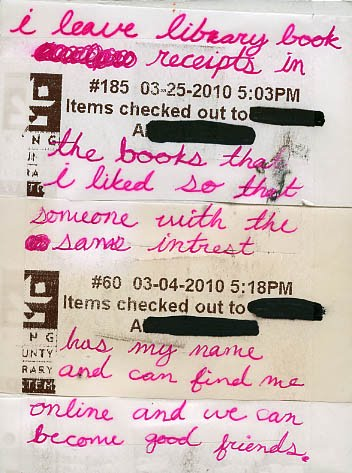 Post Secret - Library Receipts