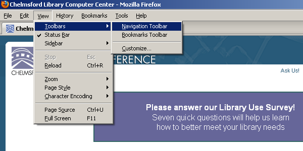 Firefox Toolbar menus