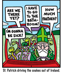 St. Patrick driving the snakes out of Ireland