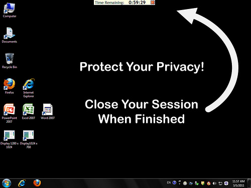Wallpaper with privacy reminder