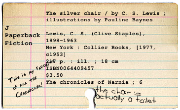 Catalog card with comments