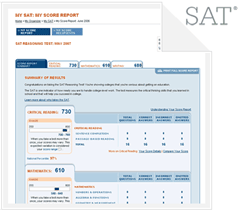 SAT score report