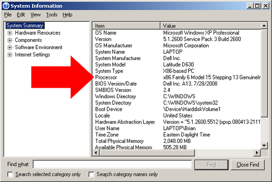 System Information dialog box