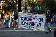 Taxation without Representation in DC parade sign