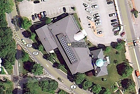 Satellite view of solar panels on the roof of the Chelmsford Library