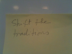 shift the traditions post-it