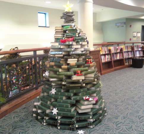 Christmas tree made of green books