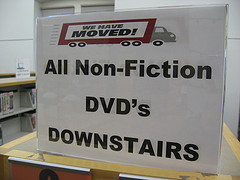 Non-Fiction DVDs Have Moved sign