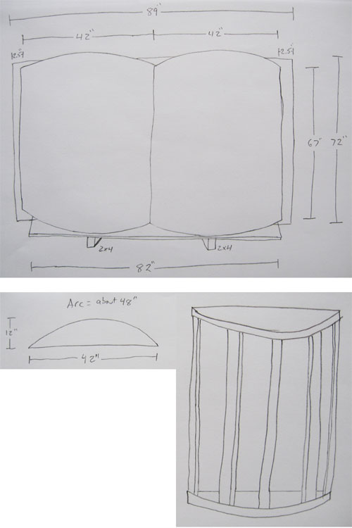 Measured drawing of a wooden book