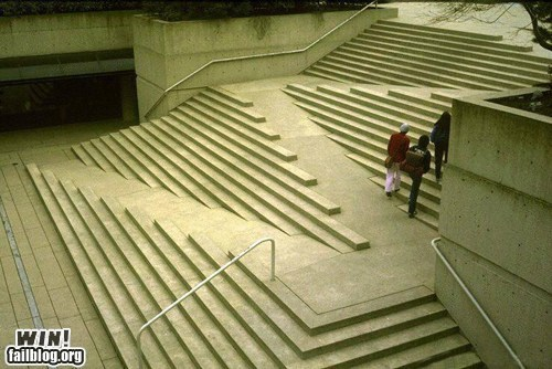 stairs with ramp built in