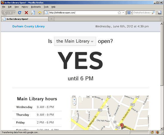 Is the library open? screenshot