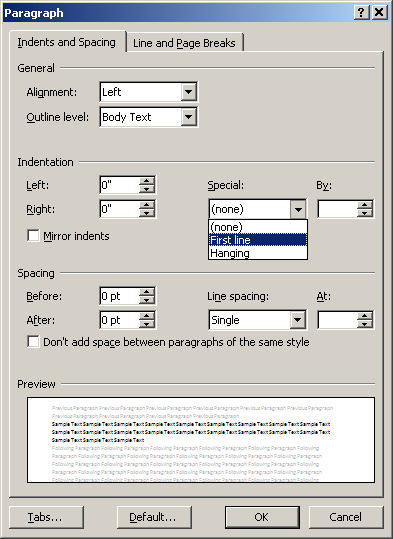 Paragraph format box