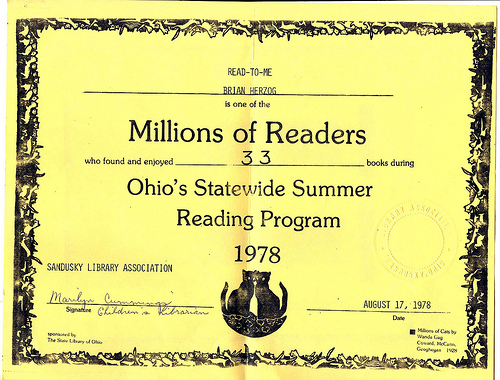 Summer Reading Certificate 1978