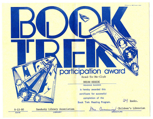 Summer Reading Certificate 1980