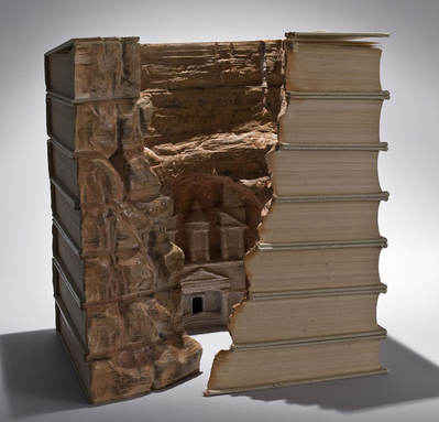 Carved book scuplture