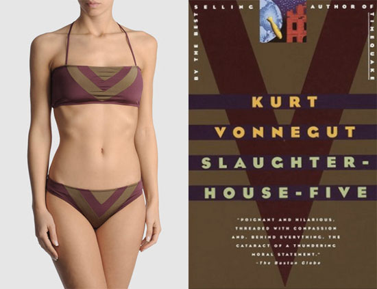 Slaughterhouse Five by Kurt Vonnegut, and suit