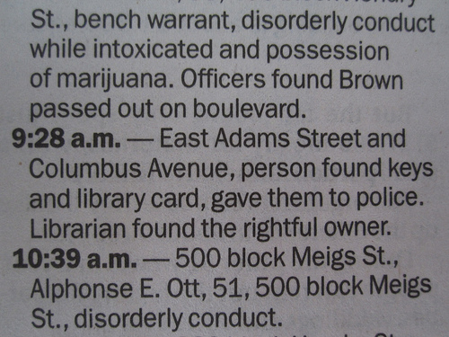 Sandusky Register Aug 3 2012 police blotter