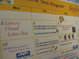 Library events calendar