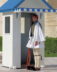 Evzone soldier at the Greek Tomb of the Unknown Soldier