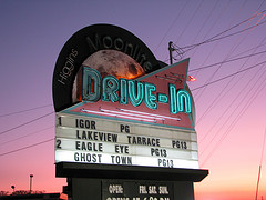 Sign for The Higgins Moonlite Drive-In, still operating in Tennessee