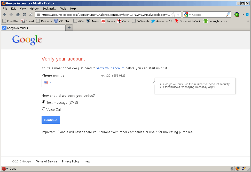 Gmail verification screen
