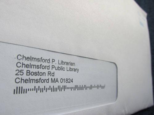 Envelope addressed: Chelmsford P. Librarian, Chelmsford Public Library, 25 Boston Road, Chelmsford, MA 01824