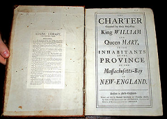 Ebay listing for 1743 MASSACHUSETTS Bay COLONIAL Laws CHARTER American ADULTERY Leather BOSTON