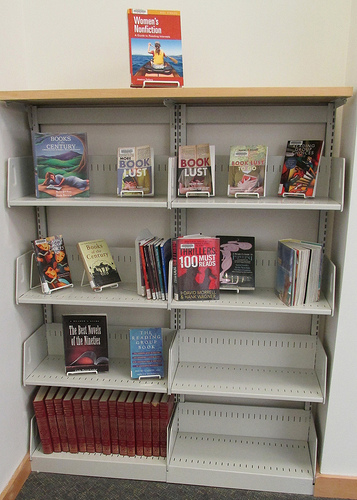 Library shelves with non-library books