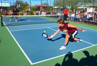 Pickleball action shot