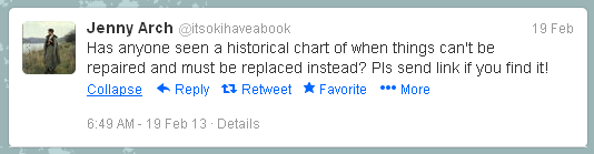 Tweet from @itsokihaveabook  Has anyone seen a historical chart of when things can&#039;t be repaired and must be replaced instead? Pls send link if you find it!